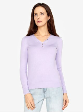 Pulover violet deschis cu nasturi decorativi M&Co