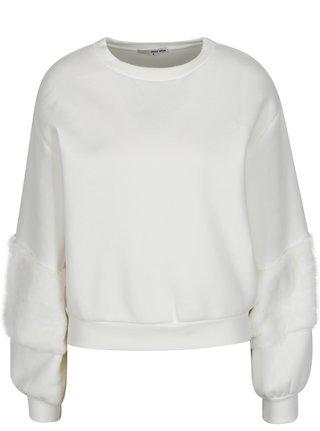 Bílá mikina s detaily z umělé kožešiny TALLY WEiJL