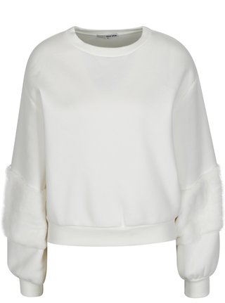 Bluza sport alba cu detalii din blana artificiala - TALLY WEiJL