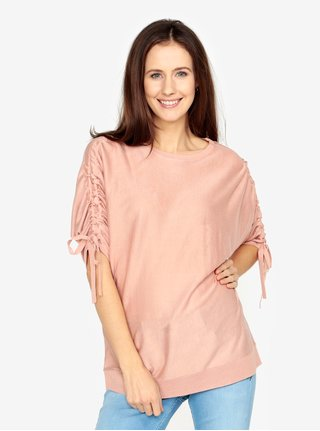 Růžový volný svetr s rukávy na stahování VERO MODA Adriana