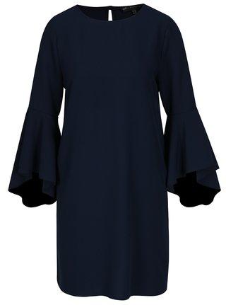 Tmavomodré voľné šaty s volánmi na rukávoch Mela London