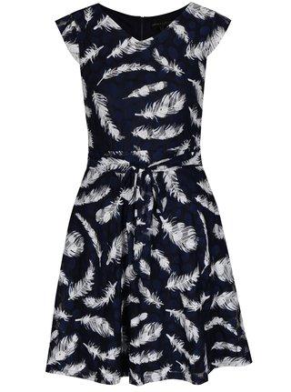 Tmavě modré áčkové šaty s motivem peříček Mela London