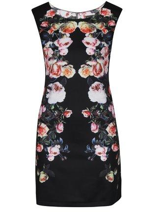 Čierne krátke kvetované šaty Mela London
