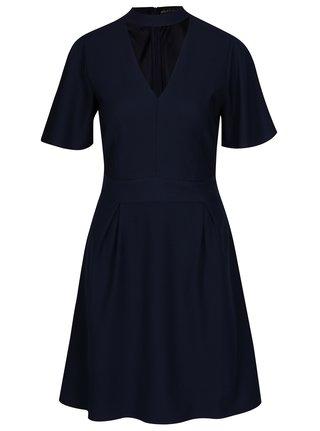 Tmavomodré áčkové šaty s chokerom Mela London