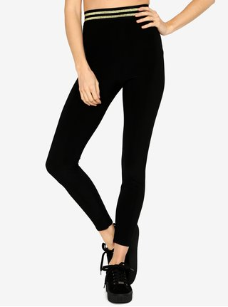 Leggings negri cu dungi contrastante - MISSGUIDED