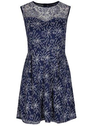 Tmavomodré áčkové vzorované šaty Mela London