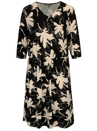 Černé květované šaty s 3/4 rukávem Ulla Popken
