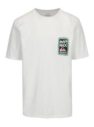 Bílé pánské tričko s potiskem na zádech Quiksilver