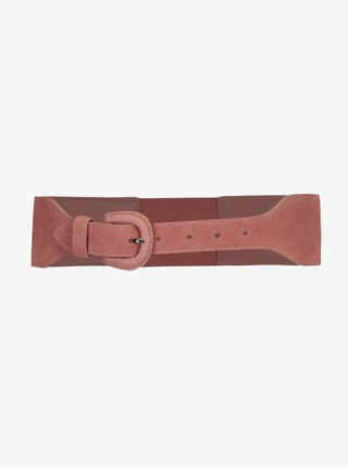 Curea roz deschis din piele intoarsa - Pieces Issa