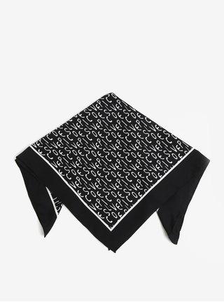 Esarfa neagra cu print - Pieces Mia