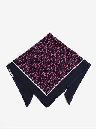 Tmavě modrý vzorovaný šátek Pieces Mia