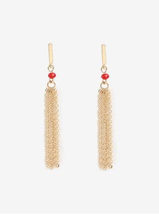 Náušnice ve zlaté barvě s červeným korálkem Pieces Jenner