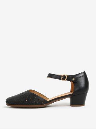 Pantofi decupati negri din piele cu model perforat - Pikolinos Gomera