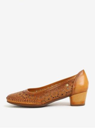 Hnedé kožené perforované lodičky Pikolinos Gomera