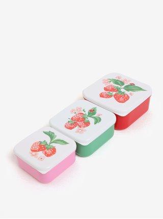 Súprava troch detských desiatových boxov v červenej, zelenej a ružovej farbe Cath Kidston