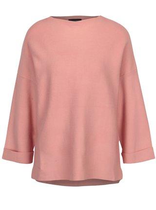 Růžový dámský svetr s prodlouženým zadním dílem Broadway Brim