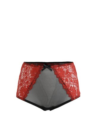 Chiloti din plasa si dantela rosu&negru cu talie inalta Eden Lingerie