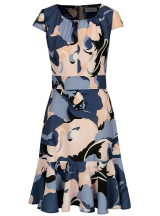 Rochie albastra cu print abstract si volan Closet