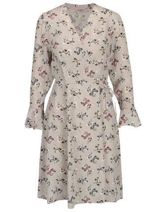 Sivé kvetované šaty s prekladaným výstrihom Cath Kidston