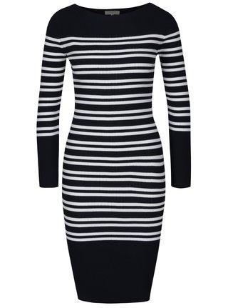 Bielo–modré pruhované svetrové šaty s dlhým rukávom Selected Femme Harper