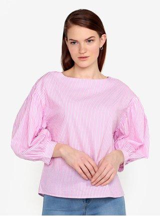 Bluza roz & alb cu maneci balon si print in dungi - VERO MODA Minnie