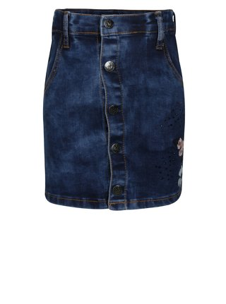 Modrá džínová holčičí sukně s výšivkou a aplikací small rags Gerda
