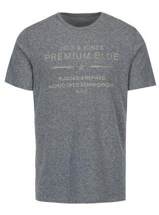 Svetlomodré melírované tričko s potlačou Jack & Jones Tokyo