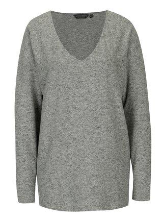 Šedý žíhaný svetr s véčkovým výstřihem Dorothy Perkins Tall