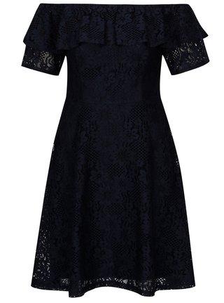 Tmavomodré čipkované šaty s odhalenými ramenami Dorothy Perkins