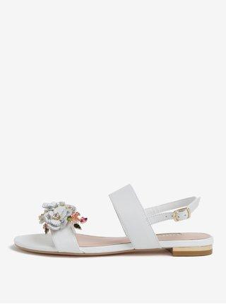 Biele kožené sandáliky s kvetinovou ozdobou Dune London Kiko