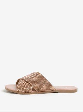 Dámské pantofle s kamínky v bronzové barvě Dune London Nevadaa