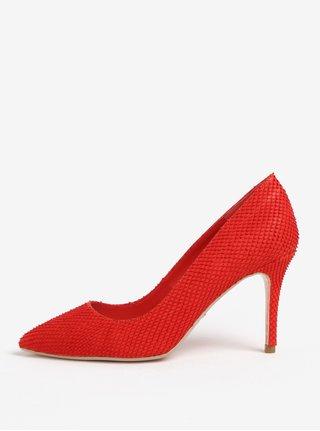 Pantofi cu toc cui rosii din piele cu model sarpe Dune London Aurrora