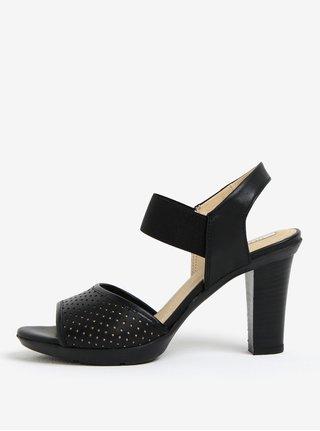 Sandale cu toc negre perforate din piele Geox Jadalis