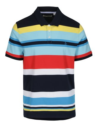 Tricou polo multicolor cu model in dungi - Original Penguin Engineered