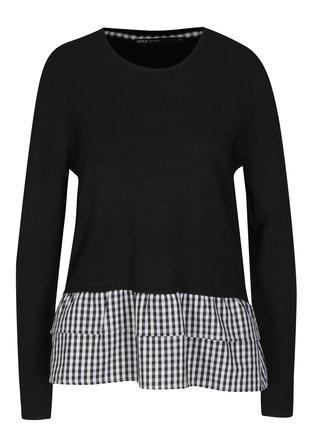 Čierny tenký sveter so všitou košeľovou časťou ONLY Gingham