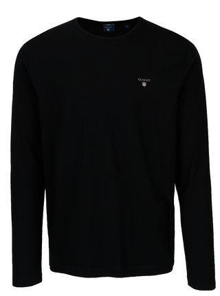 Čierne pánske regular tričko s dlhým rukávom GANT