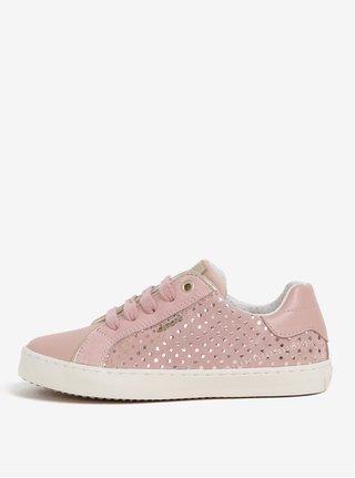 Ružové dievčenské bodkované semišové slip on Geox Kilwi