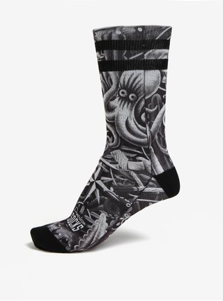 Šedo-černé unisex vzorované ponožky American Socks
