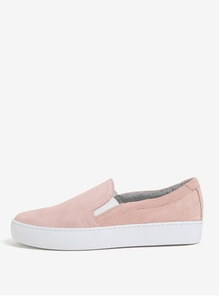 Pantofi slip-on roz din piele intoarsa pentru femei Vagabond Camille