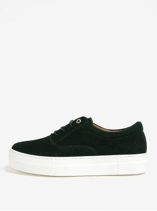 Pantofi sport verde inchis din piele intoarsa cu platforma - OJJU