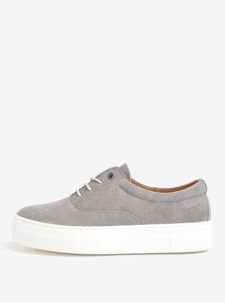 Pantofi sport gri din piele intoarsa cu platforma - OJJU