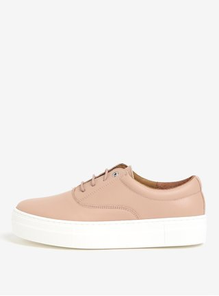 Pantofi sport roz din piele cu platforma - OJJU
