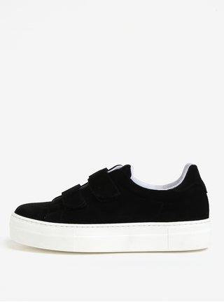 Pantofi sport negri din piele intoarsa cu platforma - OJJU
