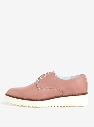 Pantofi roz din piele intoarsa cu platforma - OJJU KRON