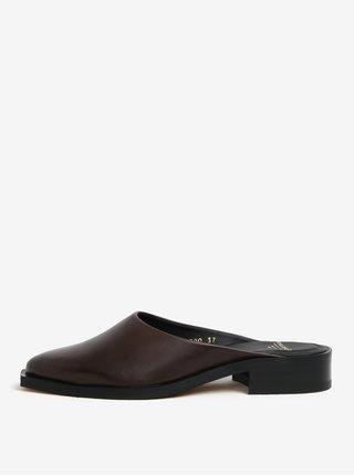 Papuci maro cu toc mic din piele pentru femei - Royal RepubliQ