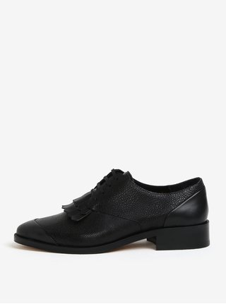 Pantofi negri din piele cu franjuri pentru femei - Royal RepubliQ