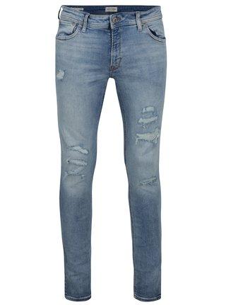 Modré skinny fit džíny s potrhaným efektem Jack & Jones Liam