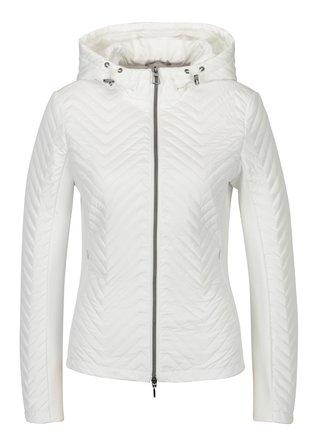 Bílá dámská lehká prošívaná bunda s kapucí Geox