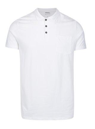 Biela pánska muscle fit polokošeľa Burton Menswear London