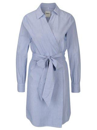Rochie-camasa albastra in dungi cu cordon ONLY Rosel